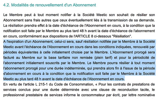 suspendre un abonnement meetic
