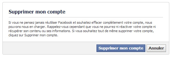 désinscription définitive de facebook