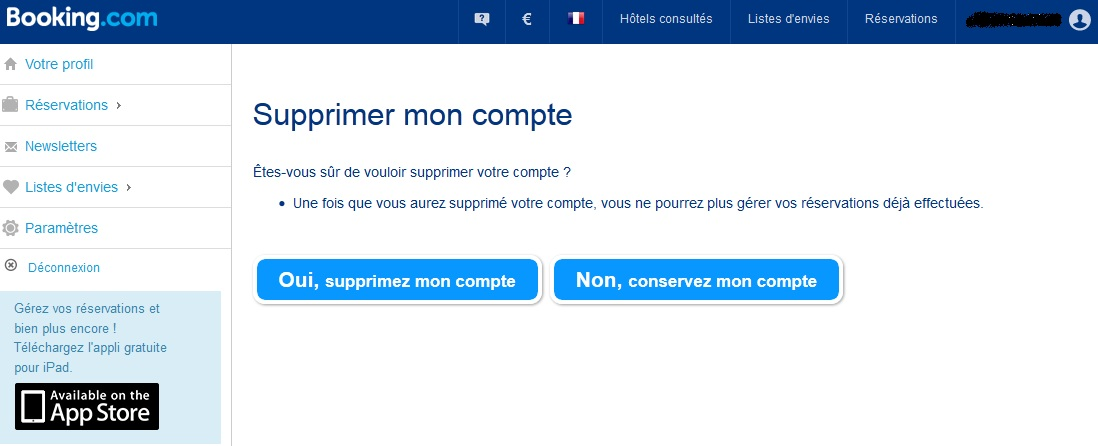 Supprimer compte booking