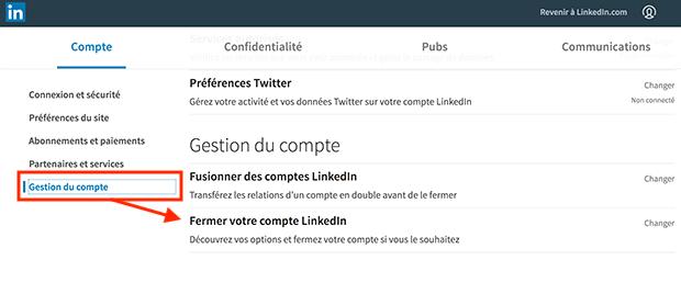 comment supprimer un compte LinkedIn