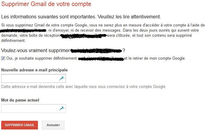 Supprimer compte gmail
