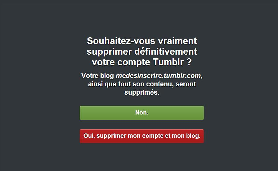 Confirmer la suppression de votre compte tumblr