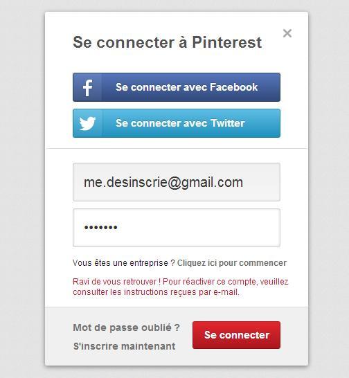 Mail de sauvegarde Pinterest