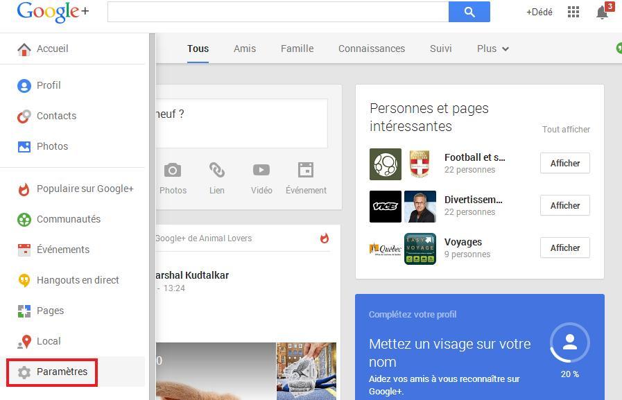 Paramètre google plus