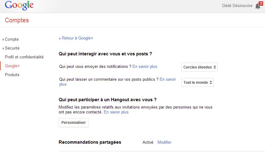onglet compte google