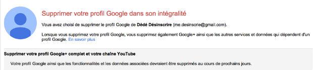 comment supprimer un profil google plus