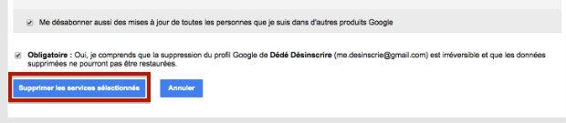 supprimer un profil Google