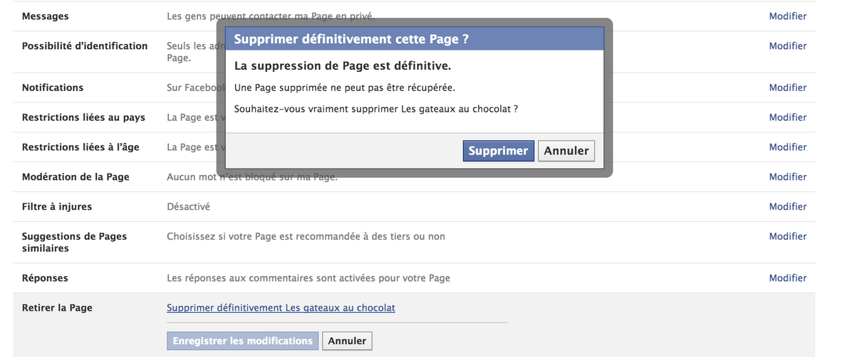 Supprimer une page Facebook