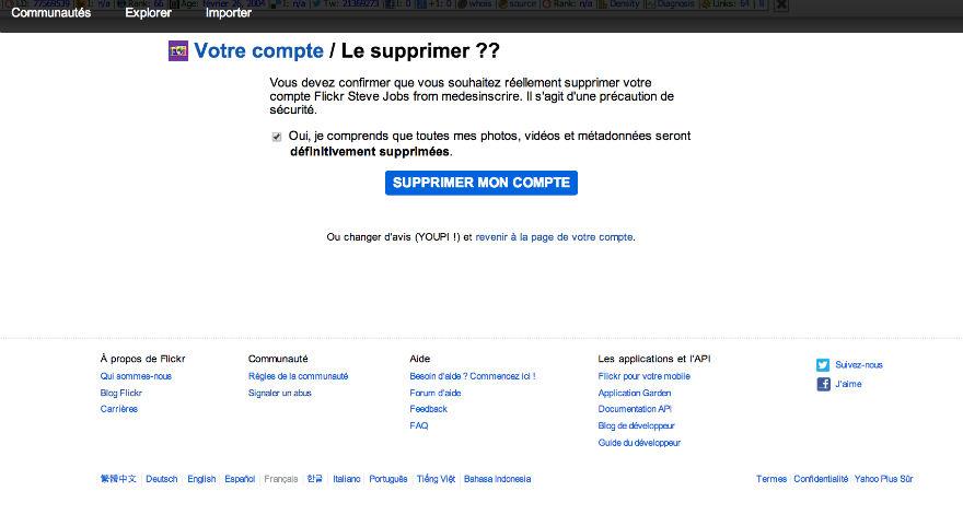 supprimer définitivement son compte Flickr