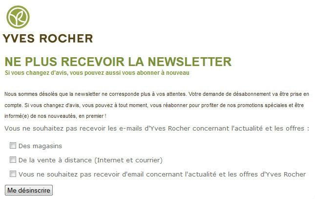 desabonner newsletter et mail d'Yves Rocher