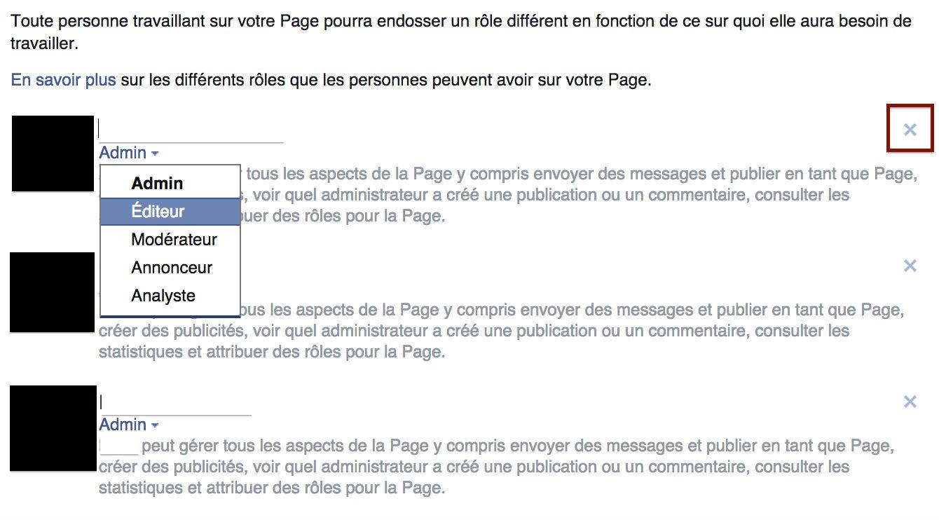 supprimer l'administration facebook
