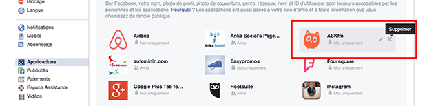 supprimer ask de facebook