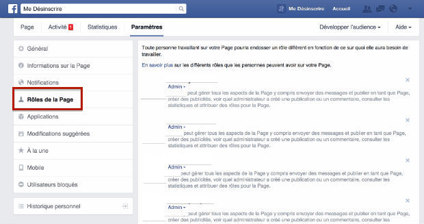 comment supprimer un administrateur Facebook