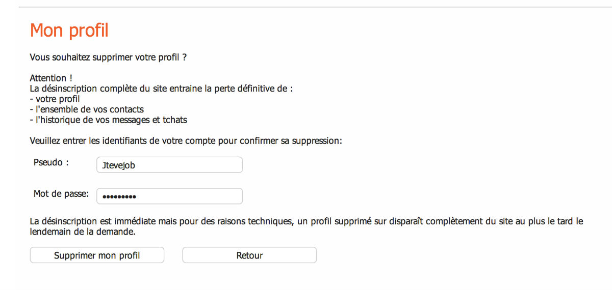 Comment supprimer son compte Ohmydial