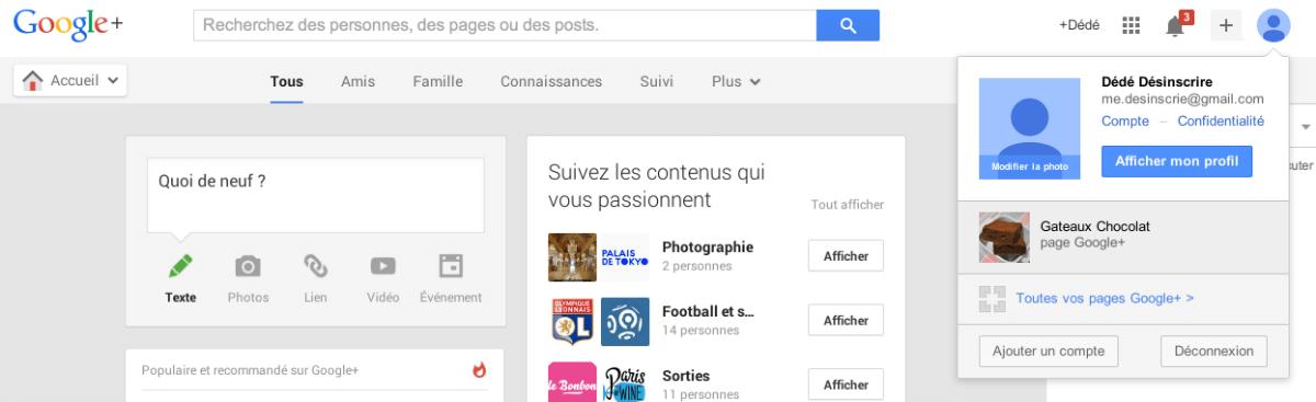 connectez vous à votre page google plus