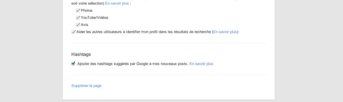 supprimer une page google plus