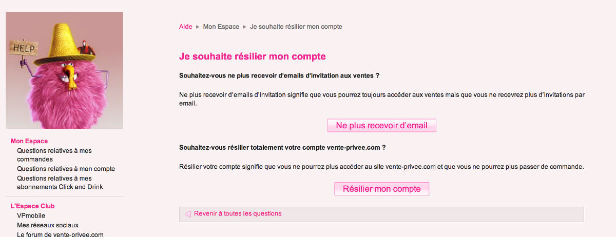 vente privee questions relatives aux commandes