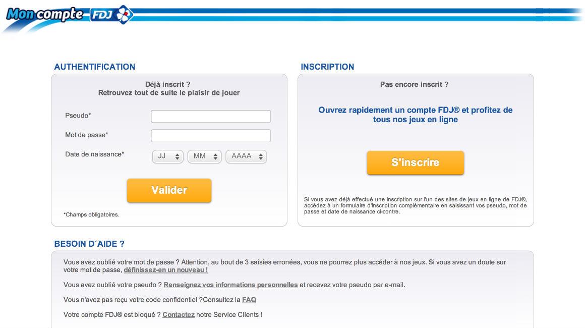 Entrez votre speudo et votre mot de passe de connexion pour accéder à votre compte Parions WEB / FDJ