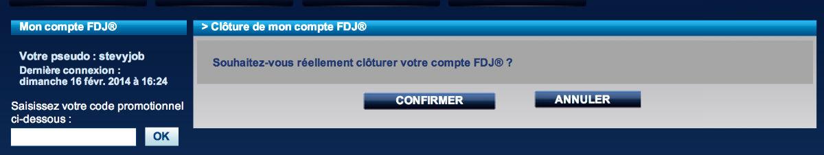 comment supprimer un compte FDJ