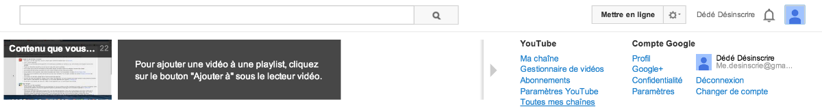 accéder aux chaines youtube