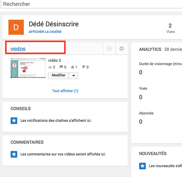 comment supprimer une video youtube