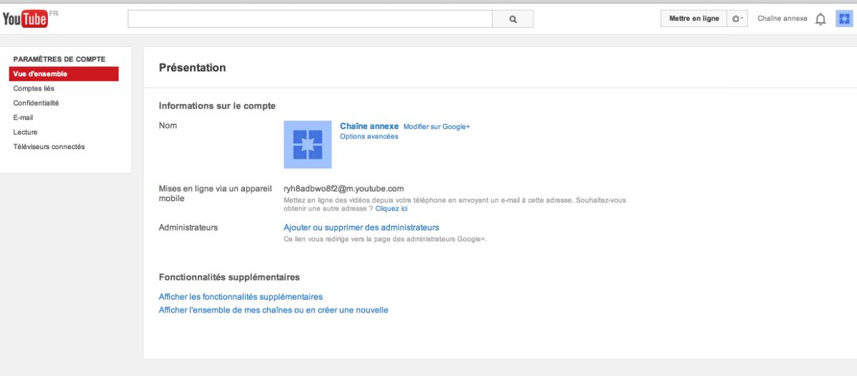 accéder aux paramètres de suppression d'une chaîne youtube