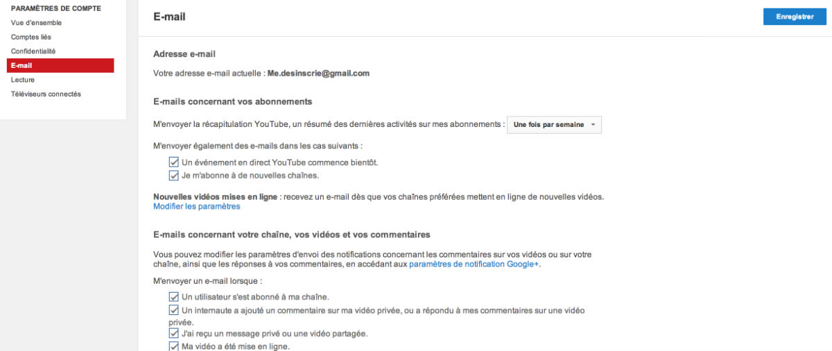 supprimer les newsletter youtube
