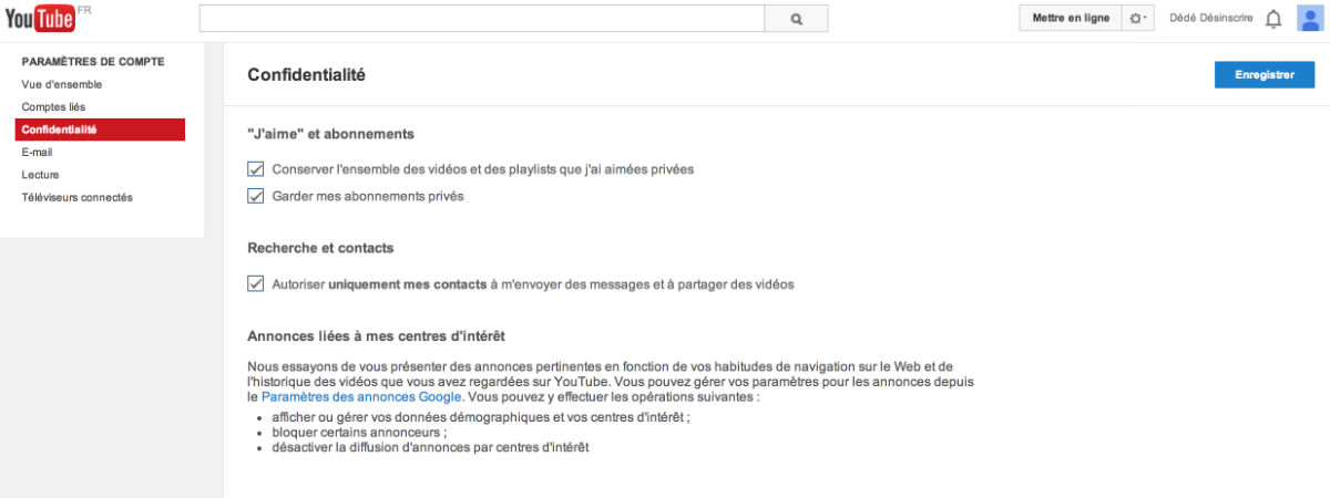paramétrer son compte youtube