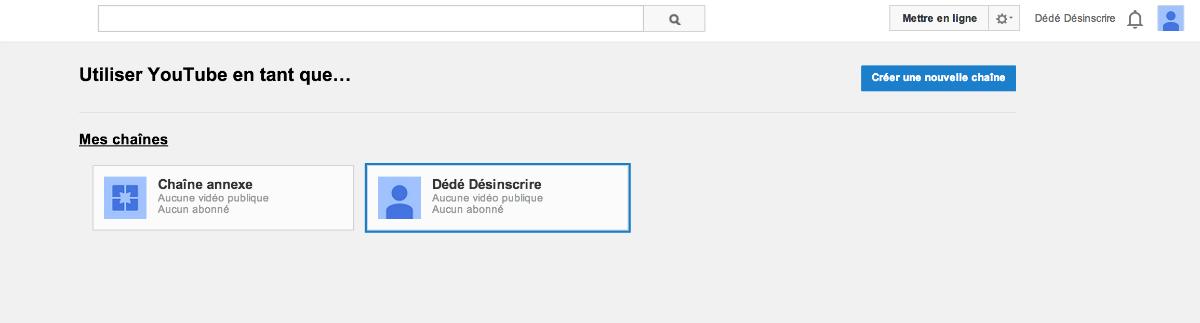 Sélection de chaîne Youtube