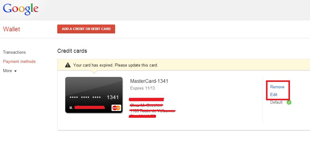 supprimer carte paiement android google