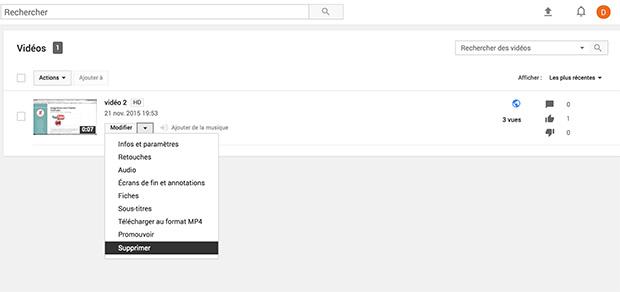 supprimer vidéo youtube