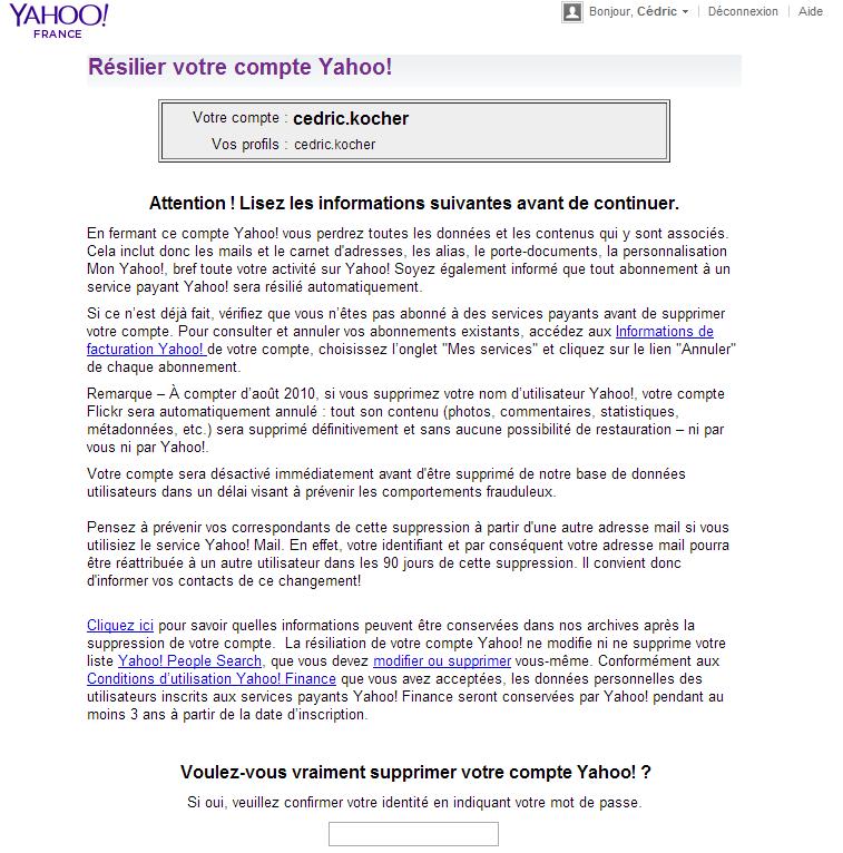 comment résilier compte Yahoo