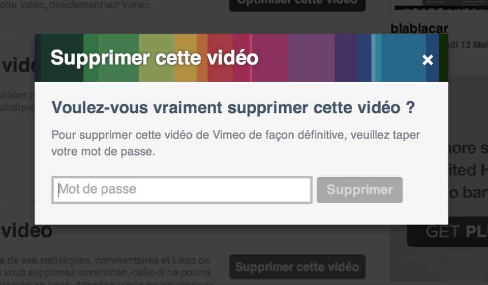 supprimer vimeo