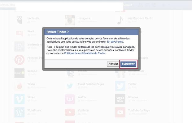 comment supprimer une appli tinder sur Facebook
