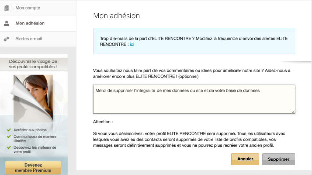 comment resilier elite rencontre