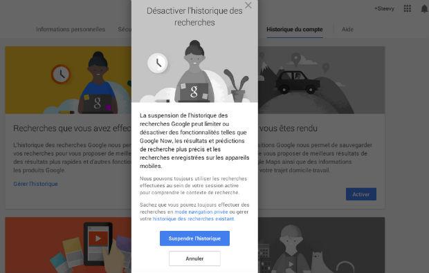 supprimer un historique de navigation web google