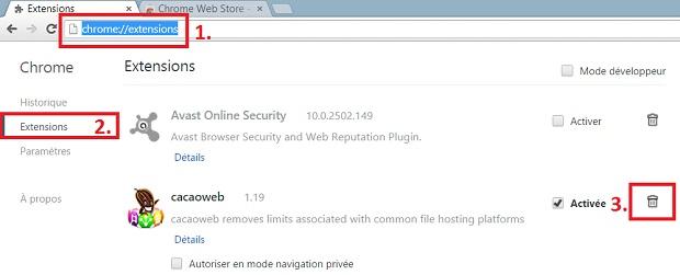 desinstallation de cacaoweb.exe Chrome