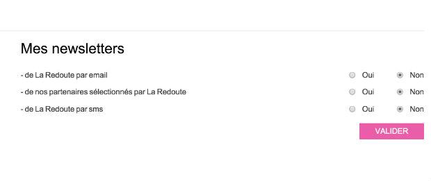 comment supprimer la newsletter La Redoute