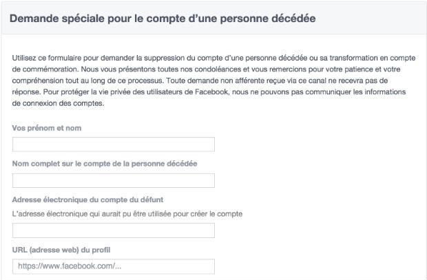 supprimer compte facebook personne décédée