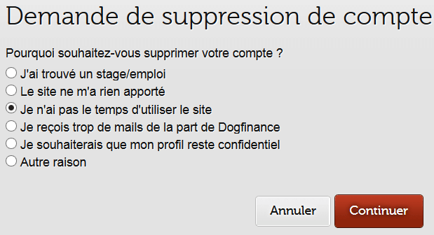 confirmation suppression compte Dogfinance