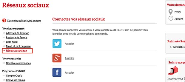 dissocier alloresto et facebook