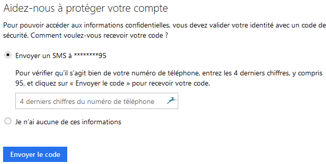 code de confirmation Outlook