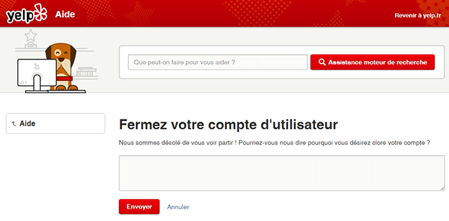 fermeture compte yelp