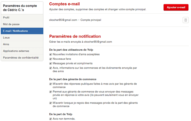 pas recevoir emails yelp