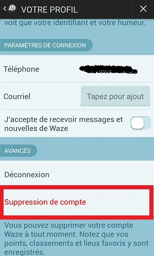 suppression compte waze