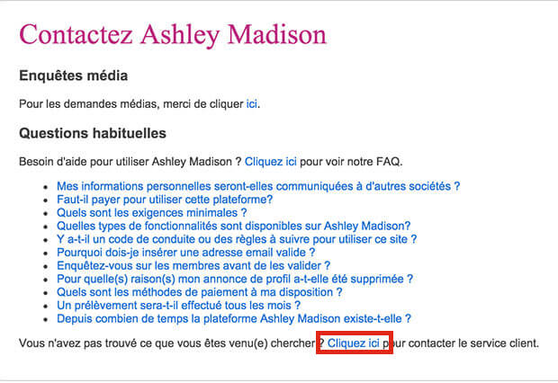 comment contacter le service client Ashely madison