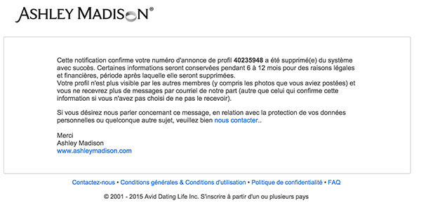 supprimer un compte Ashley Madison