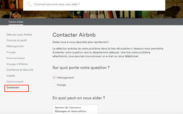 comment contacter airbnb