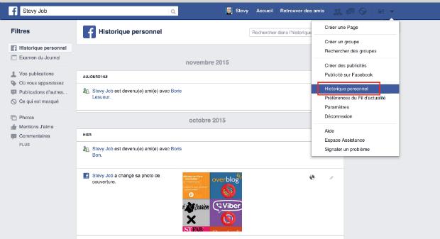 supprimer son historique facebook