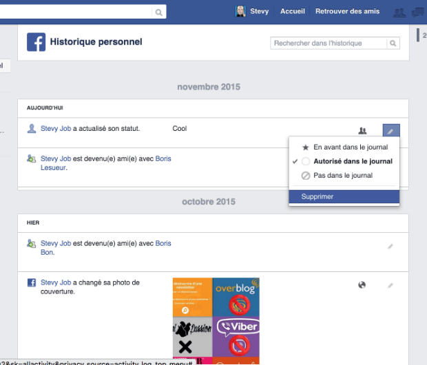 supprimer l'historique facebook